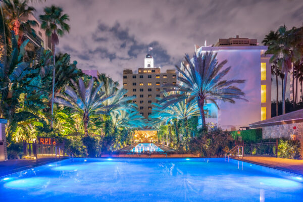 The National Hotel Infinity Pool Blue at Night